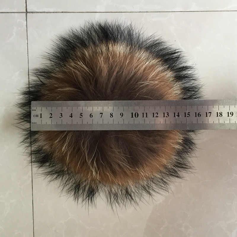 O Envio gratuito de 15-16 cm 100% real pele de guaxinim bola da chave de cadeia chapéu de pele de chapéus de inverno cap pom pom para sapatos de pele acessórios