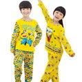2016 nuevos niños de la ropa del bebé ropa de la muchacha, bebé ropa de dormir pijamas set kids boy pijamas de dibujos animados Bob Esponja set