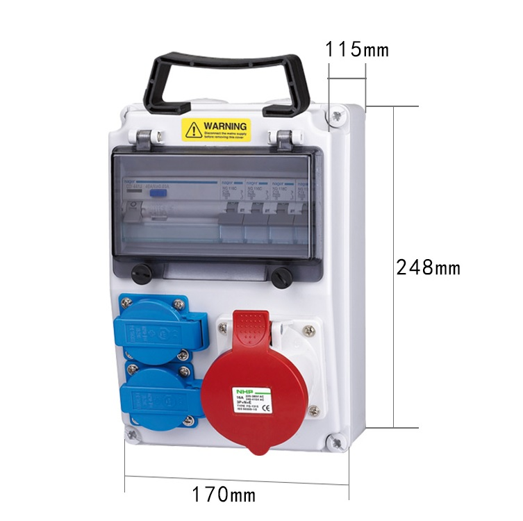 380V 16A IP44 Electric Power Distribution Box, Wall Mount EV Charging Station electric distribution networks reconfiguration