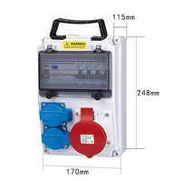 380V 16A IP44 Electric Power Distribution Box, Wall Mount EV Charging Station