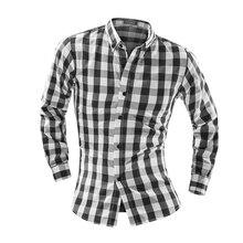 Hot sell 2018 New Autumn Fashion Brand Men Clothes Slim Fit Men Long Sleeve Shirt Men Plaid Cotton Casual Men Shirt  Big Size