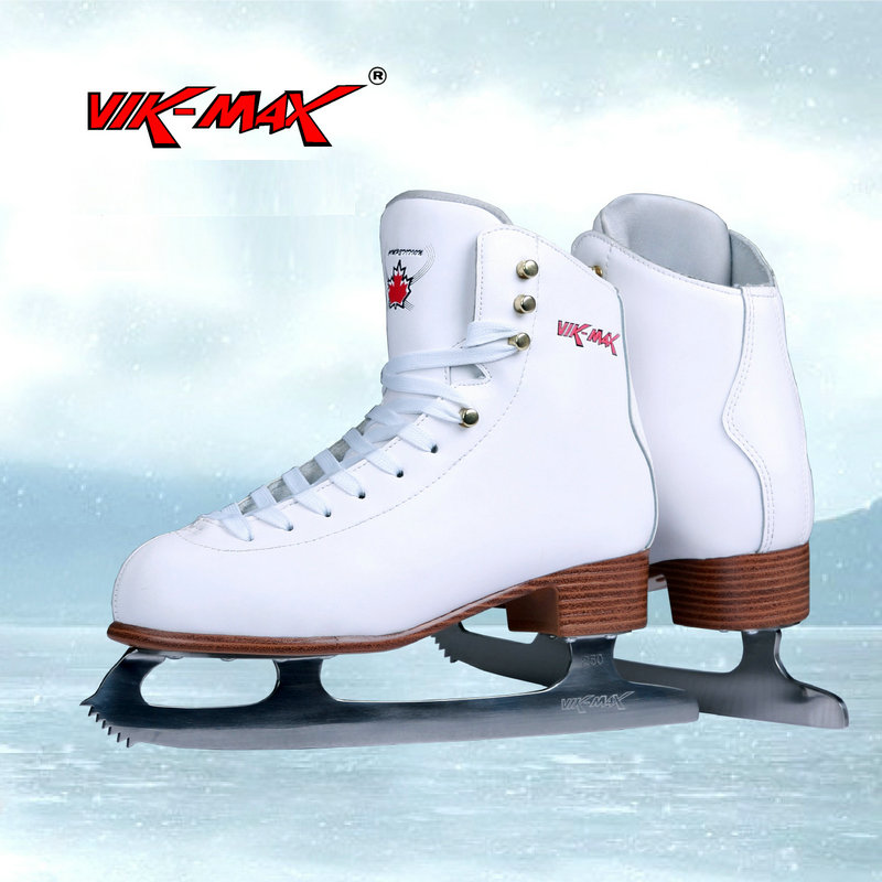 VIK-MAX white genuine leather hot sale figure skate shoes lace-up ice figure skate shoes vik max adult kids dark blue leather figure skate shoes with aluminium alloy frame and stainless steel ice blade