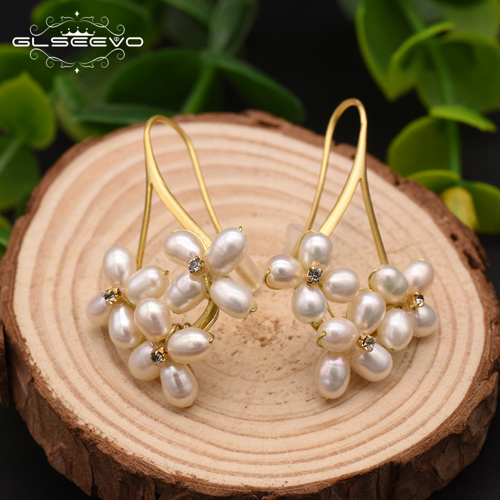 GLSEEVO Natural Fresh Water Pearl Boho Dangle Flower Earrings For Women Gifts Wedding Drop Earring Jewelry Bijoux Femme GE0546 best lady special design bohemian wedding natural fresh water pearls earring women fashion dangle jewelry multi color earrings