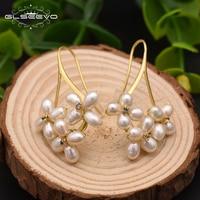 GLSEEVO Natural Fresh Water Pearl Boho Dangle Flower Earrings For Women Gifts Wedding Drop Earring Jewelry Bijoux Femme GE0546