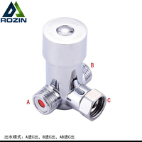 Polished Chrome Bathroom Faucet Diverter Valve 1 2 Inch Three Way T Adapter Valve For Bathroom