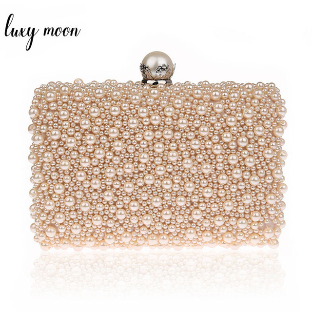 LUXY MOON Full Pearls Evening Bags Beaded Day Clutches Wedding Bride Mini  Handbag Elegant Party Bag cf0d6eae655a