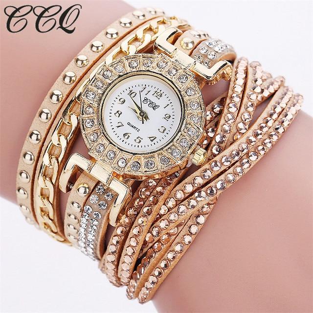 CCQ Brand Women Crystal Rhinestone Bracelet Watch Luxury Fashion Women Dress Wat