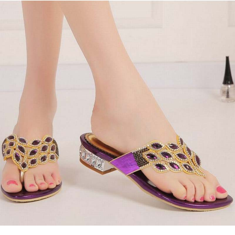 big size 34-44 New arrival summer rhinestone sandals female crystal flat low heels slippers flip flops women beach casual shoes big size 34 44 hot 2016 gladiator sandals for women bohemia beaded summer rhinestone flower flat heels flip flops sandals shoes