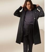 Шерстяные пальто и шляпа с длинным шерстяной ткани для осени и зимы. S 6XL!