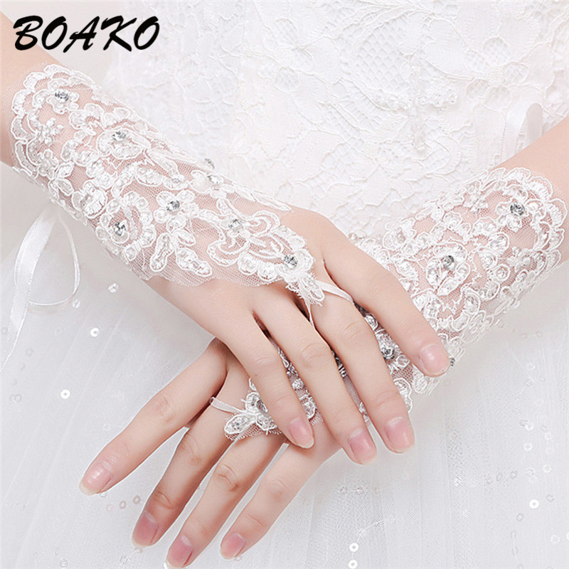 BOAKO Fingerless Short Wedding Gloves Wrist Length Lace Appliques Sequins Bridal Gloves Hollow White Red Lace Glove Accessories