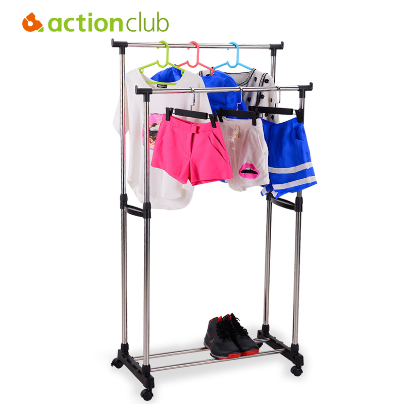 цена Actionclub Balcony Lifting Drying Rack Stainless Steel Double Rod Drying Rack Foldable Floor Standing Clothes Rack With Wheels