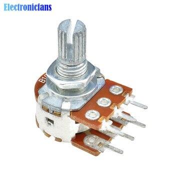 5 unids/lote B10K 10K potenciómetro de ohmios 6 pines eje partido lineal giratorio estéreo potenciómetro cónico Dual