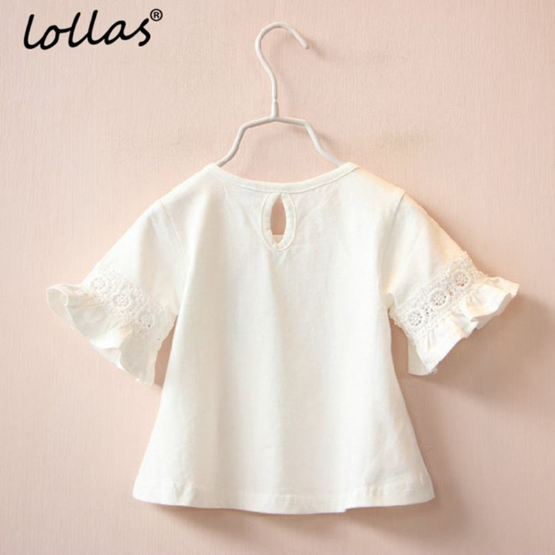 Lollas Summer New Brand Girl Princess Lace Round Neck Trumpet Sleeve Short-Sleeve T-Shirt White Pink Tops Clothes