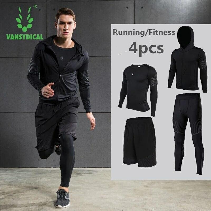 Hot mannen Running Sets 4 stks/set Compressie Sneldrogende Sport Suits Basketbal Panty Workout Gym Fitness Kits Jogging Sportkleding