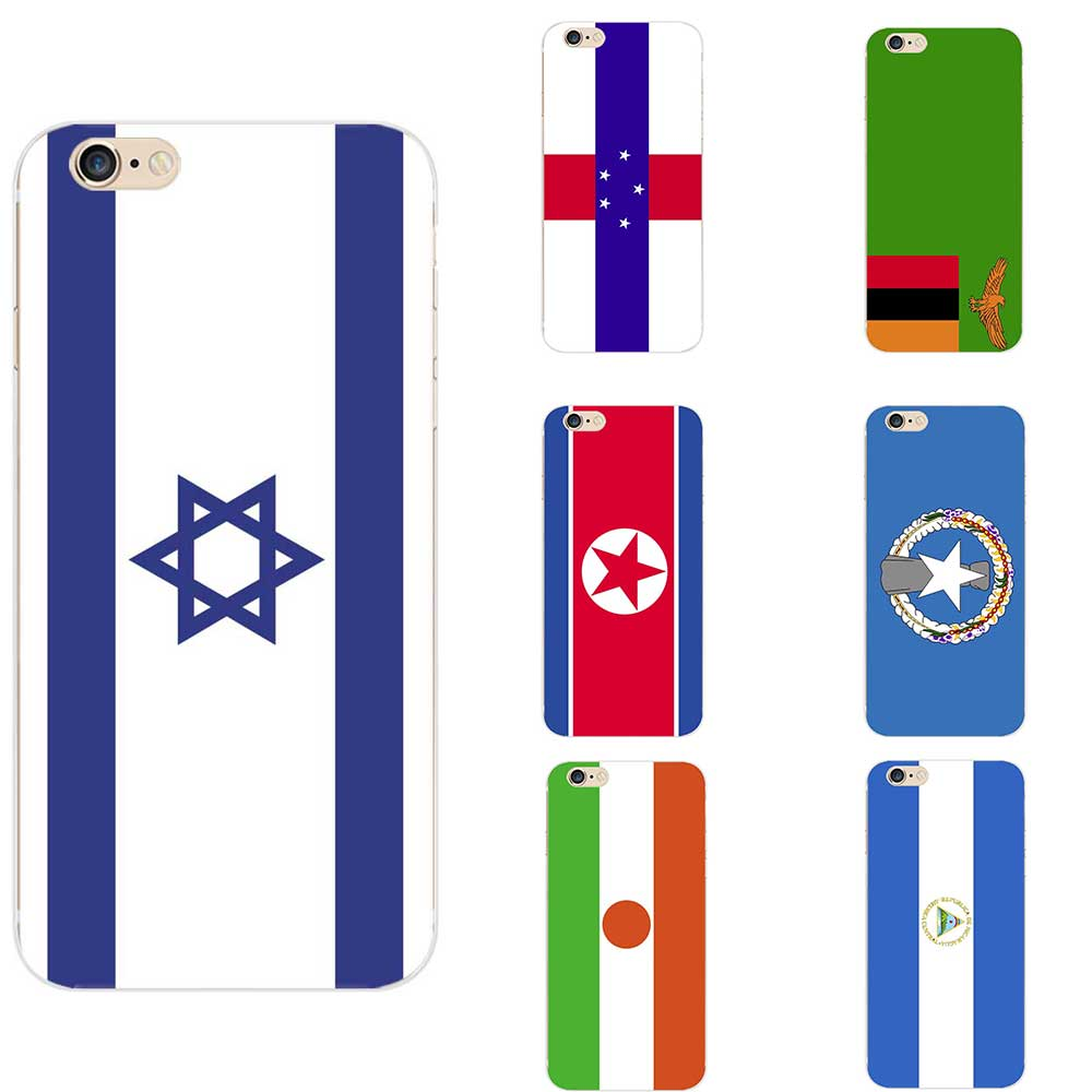 Israel Netherlands Antilles Nicaragua Niger Northern Mari Islands North Zambia Korea National Flag TPU Phone Cases For iPhone image