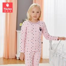 Tinsino Girls Winter Pajamas Children Girl Thickening Autumn Pajama Sets Kids Girl Polka Dots Warm Sleepwear Girls Long Johns