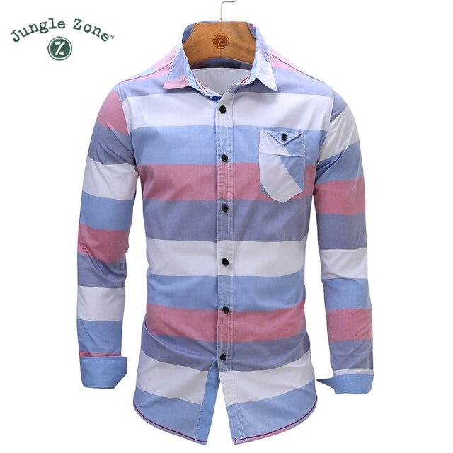 69278d660 SELVA ZONA Tamaño Europeo hombres Camisa A Rayas 100% Algodón de Manga  Larga Para Hombre