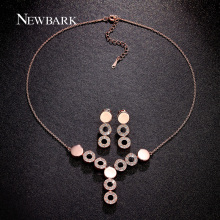 NEWBARK 2 Colors Jewelry Sets for Women Round Cubic Zircon Copper Circles Pendant Chocker Necklace/Drop Earrings Jewelry Set