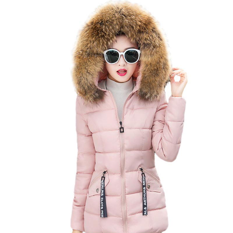 ФОТО women fur jacket winter warm cotton coat big soft Fur collar hooded woman jacket slim women padded female clothing outwear