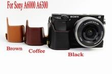 Из натуральной кожи Камера сумка для sony A6000 A6300 Камера Профессиональный модное из натуральной кожи половина дела