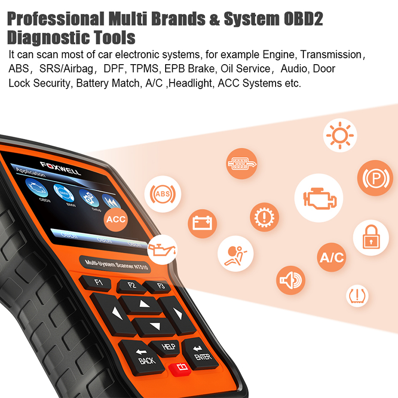 Foxwell NT520 Pro Diagnostic Scanner Tool ABS SRS OBD2 Code Reader Foxwell NT510