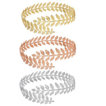 Fashion Gold Tone Swirl Leaf Upper Arm Bracelet Armlet Cuff Bangle Armband Adjustable for Women Girl Gift