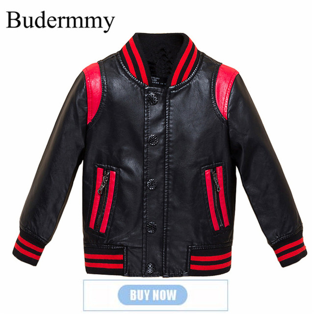 a887f10b4 Budermmy 2018 Spring Fashion Leather Boys Jacket Brand Design Infant Coats  Girls Outerwear Kids Clothes Children Clothing