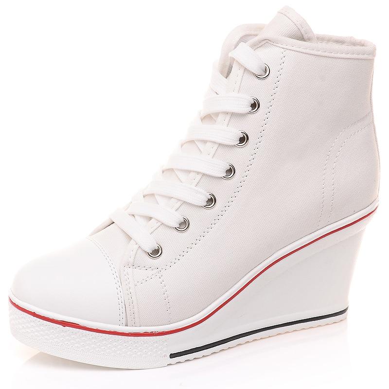 Envío gratis 2016 Insignia Cuñas High Lacing Casual elevador - Zapatos de mujer - foto 2