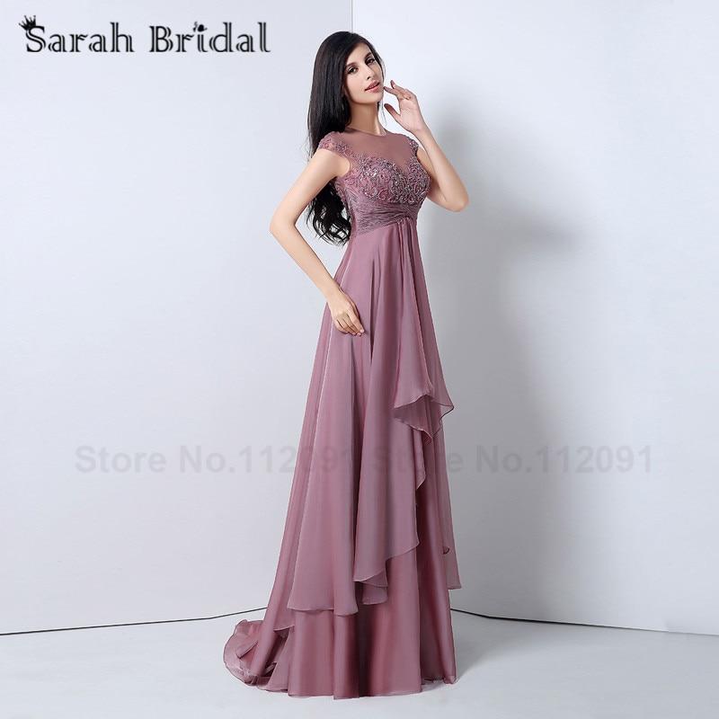 Aliexpress.com : Buy Beautiful Mauve Chiffon Evening Dresses Cap ...