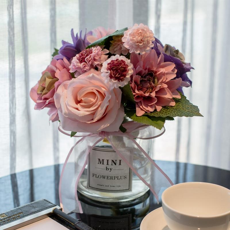 Creative Glass Vase+Artificial Flower Set Decor Home Furnishing Decoration Crafts Wedding Gift Livingroom Silk Fake Flower Pot
