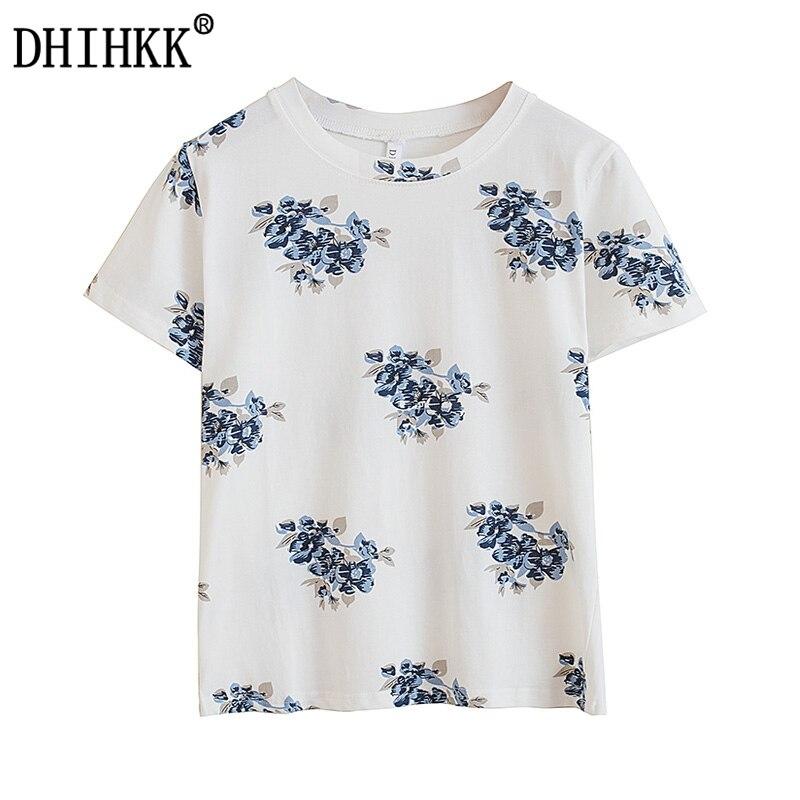 DHIHKK 2017 verano mujeres Camiseta de algodón Casual Color blanco ...