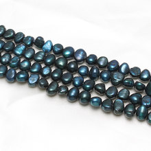 Keishi Cultured Freshwater Pearl Beads new european and american style, blue, 8-9mm, Hole:Approx 1mm Approx 15.5 Inch Strand(China)