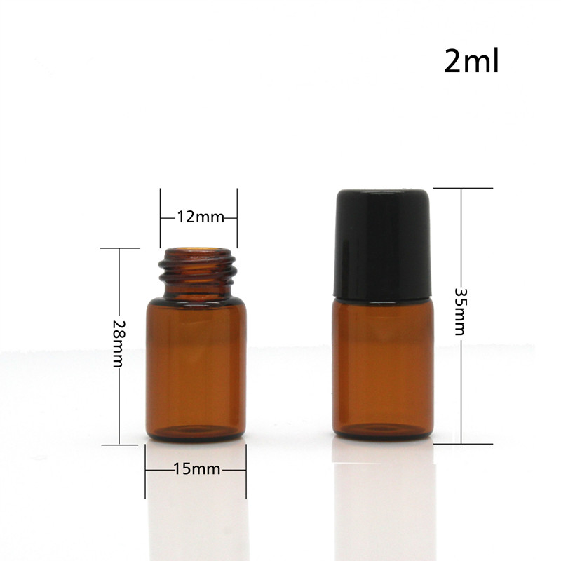 DHL free 500pcs/lot 1ml 2ml Metal Roller On Bottles For Essential Oils Amber Mini Glass Bottles With Black Lid Wholesale