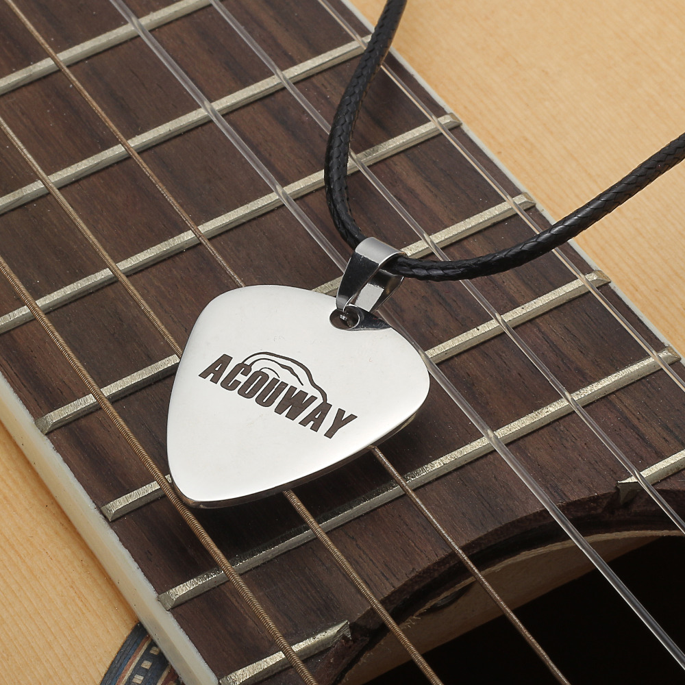 Acouway Guitar Pick Pendant Necklace Stainless Steel made with black chain /Libra constellation logo Guitar Instrument Parts