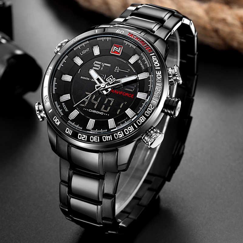 NAVIFORCE Marque De Luxe Hommes Sport Militaire Montres hommes Horloge À Quartz Numérique En Acier Étanche Montre-Bracelet relogio masculino