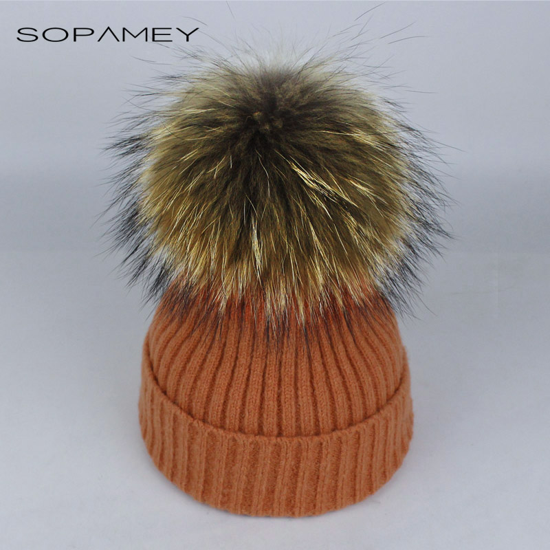 Fox fur pompom hat knitted real mink hat Winter Hat for Women Girls Wool Hat Knitted Cotton Beanies Cap Skullies gorras 2017