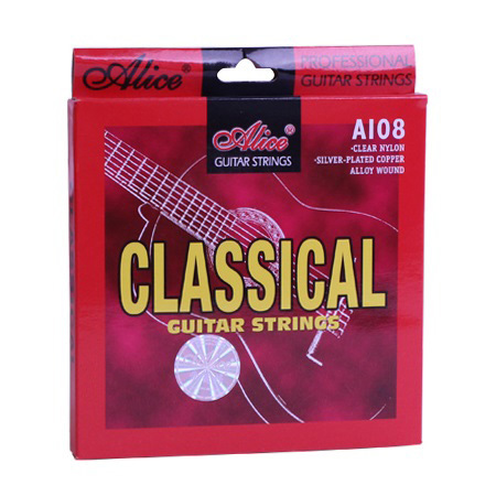 Classical Guitar Strings Set 6-string Classic Guitar Clear Nylon Strings Silver Plated Copper Alloy Wound - Alice A108 classical guitar strings set cgn10 classic nylon silver plated normal tension 028 045 classical guitar strings 6strings set