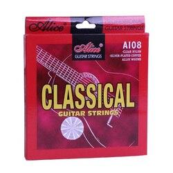 Conjunto de Cuerdas de guitarra clásica de 6 cuerdas guitarra clásica cuerdas de nailon Chapado en plata aleación de cobre-Alice A108