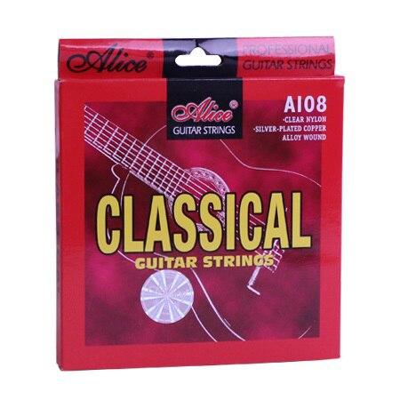 Cordas da guitarra clássica conjunto de 6 cordas, clássica, nylon transparente, folheada a prata, liga de cobre wound-alice a108