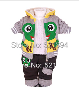 clearance high quality baby boy winter thicken fleece warm cartoon frog clothing set 2pcs children winter clothing