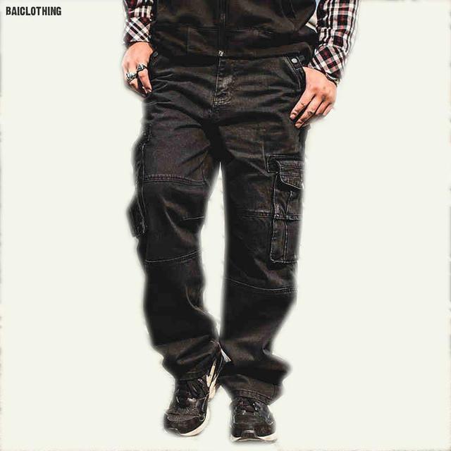 gran selección de 97603 3da99 € 56.73 |Más Tamaño 6XL 7XL 8XL Heren Vaqueros de Carga Met Bolsillo Cargo  Baggy Cargo Broek Denim Zwart Losse Rechte Hombre Jeans de Marca De Luxe en  ...