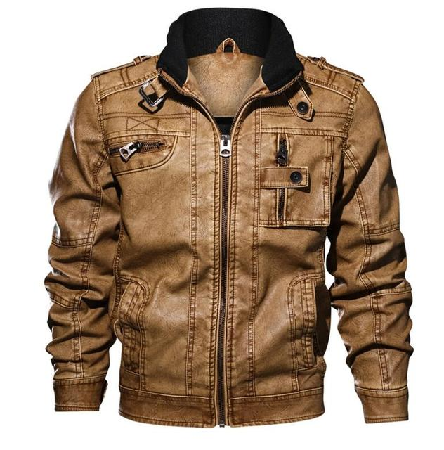 bfbc6f188 US $51.13 7% OFF|Men's PU Leather Jacket Winter Military Pilot Bomber  Jackets Autumn Fashion Outerwear Motorcycle Biker Leather Coat-in Faux  Leather ...