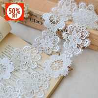 hot sale 6cm flower double high soluble lace embroidery lace DIY manual material High-quality
