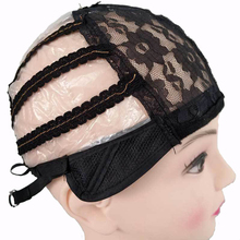 цена на Wholesale Lace Front Wig Caps For Making Wigs Only Stretch Lace Weaving Adjustable Straps Back Black Lace Cap In Hairnets 30pcs