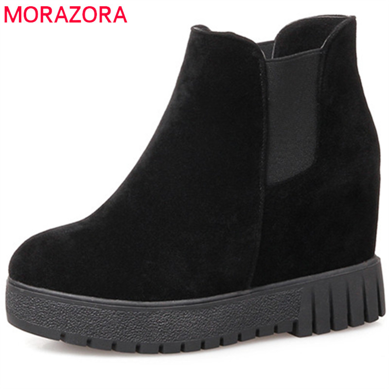 цены  MORAZORA Slip-on solid flock ankle boots for women fashion shoes woman height increasing womens boots in spring autumn
