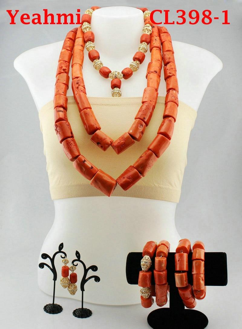 Belle indien mariée corail déclaration collier ensemble mariage nigérian corail perles collier ensemble femmes bijoux ensemble CL398-1