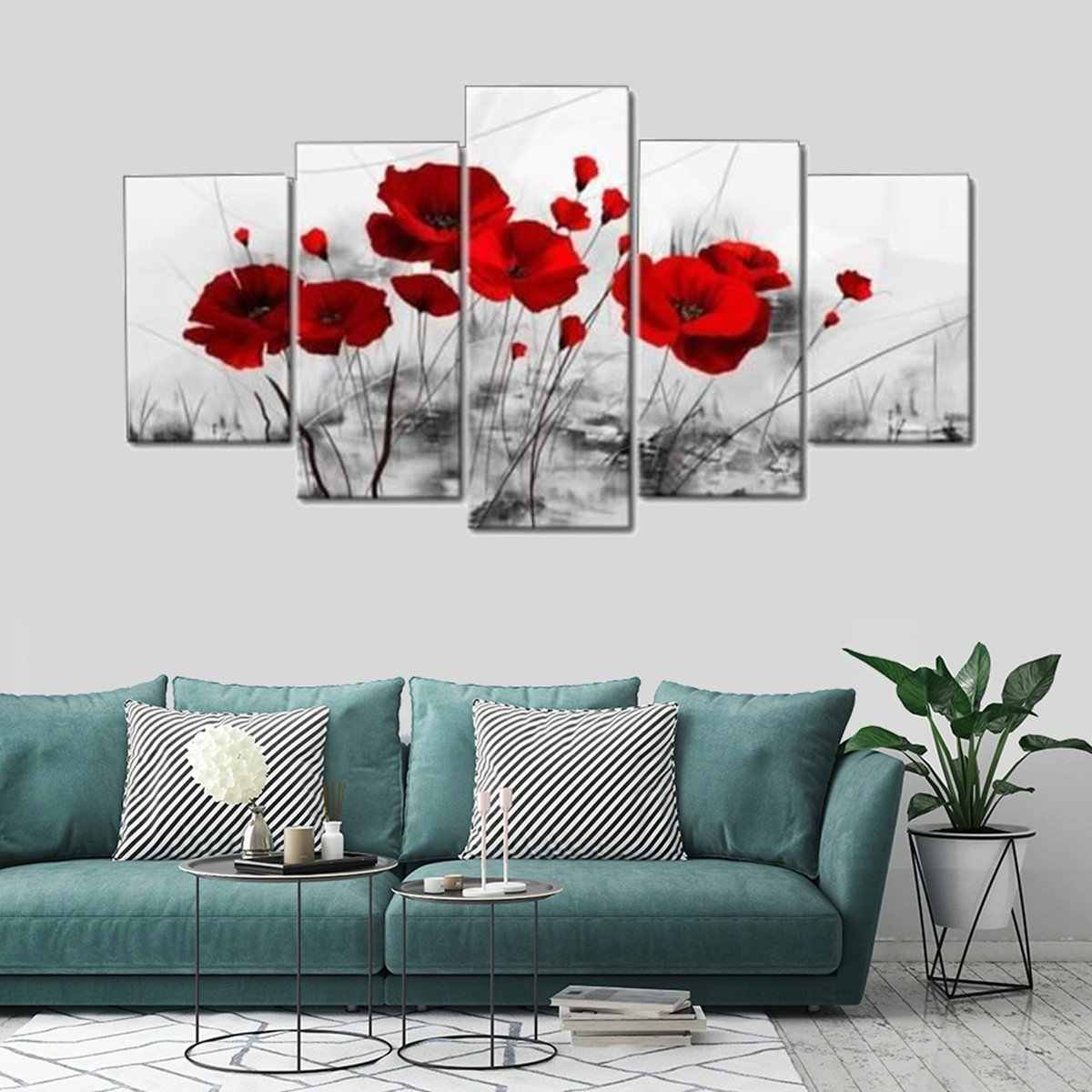 5 Panels Modern Canvas Painting Set Unframed Red Flowers Wall Art Picture Murals Poster Home Living Room Decoration Crafts