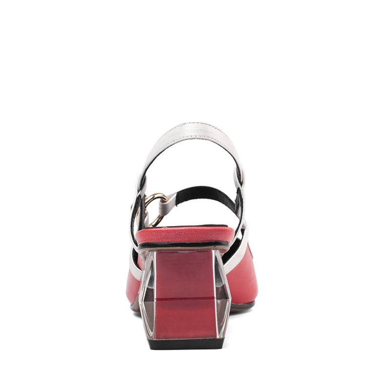 MSSTOR Square Toe Summer Sandals Mixed Colors Sexy Genuine Leather Party Red Sandals Buckle Square Heel Ladies Sandals 2019 5CM