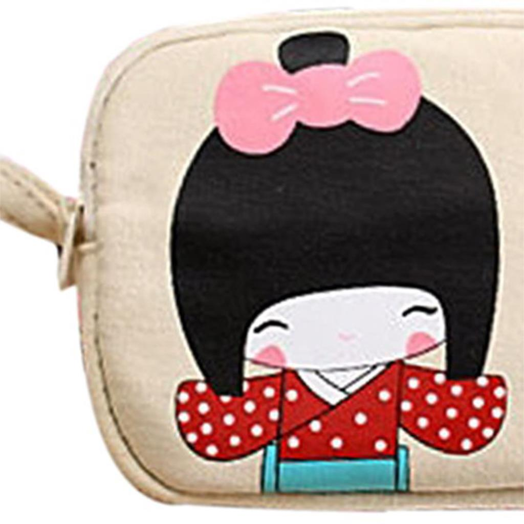 TEXU 5 X Cute Japanese Girl Print Canvas Phone Bag Double Zipper Purse Coin Bag Off-White
