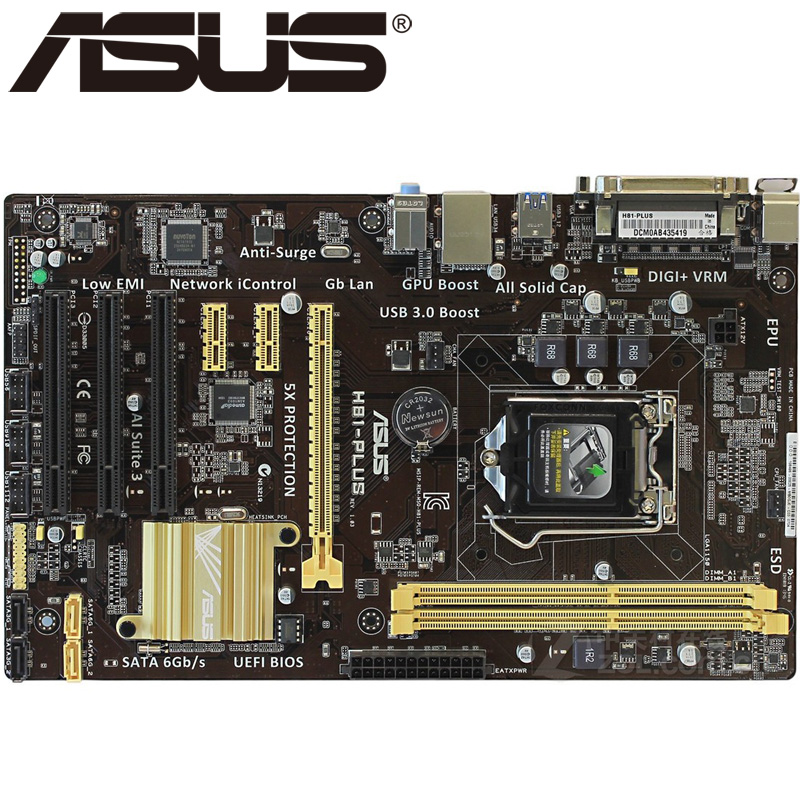 Asus H81-PLUS Desktop Motherboard H81 Socket LGA 1150 i3 i5 i7 DDR3 16G ATX UEFI BIOS Original Used Mainboard Hot Sale asus p5ql cm desktop motherboard g43 socket lga 775 q8200 q8300 ddr2 8g u atx uefi bios original used mainboard on sale